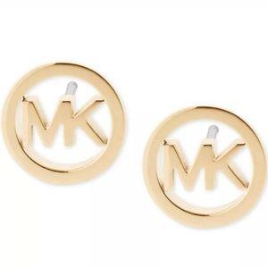 Michael Kors Round Gold Logo Stud Earrings